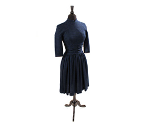 Navy Blue and Green checked jersey knit dress by Bobbie Brooks.