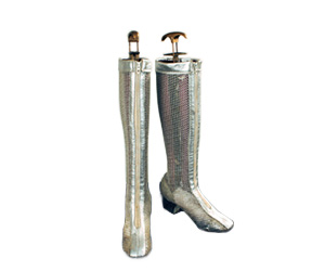 Silver mesh boots that have see through shafts and bodies.