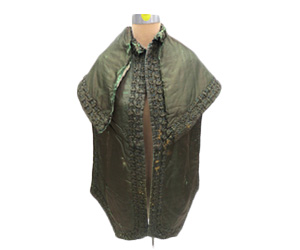 Forrest green silk pelerine or cloak with quilted self ruching trim.